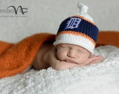 Detroit Tiger Baby Hat, Newborn Photo Prop, Detroit Tiger Baseball, Detroit Tiger Hat, Newborn Detroit Tiger Hat, Baby Detroit Tiger Hat