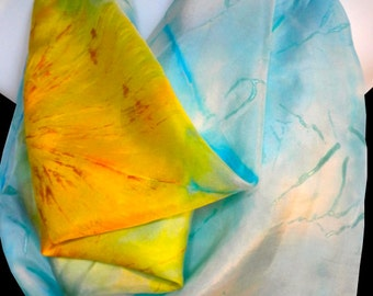 """Sunny Day square 100%SILK SCARF for Women. Hand Painted by NYC artist Joan Reese/ 30""""x30""""/""""One of a kind"""""""