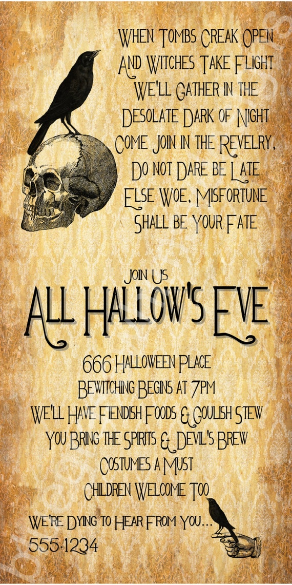 All Hallow's Eve Halloween Party Invitation 4x8 by ...