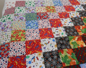 """56"""" x 70"""" Twin/Throw-Sized Patchwork Quilt Top Only -- Monthly Design"""