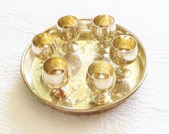 Vintage Engraved Floral Silver Tray and Goblet Set, Olives and Doves