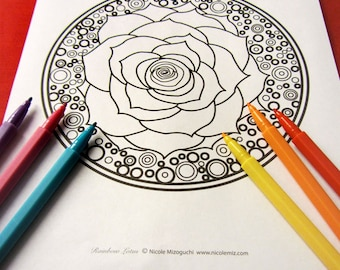 Angel With Lotus Flower Mandala Coloring Page Single