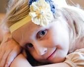 SALE!!  Denim, burlap and yellow lace fabric headband - playful shabby flower headband  - any size, made to order