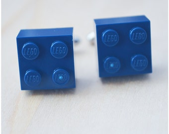 Navy Blue Cufflinks With Lego Bricks - Unique Groomsmen Cufflinks - Father's Day Gift - Best Man Cuff Links