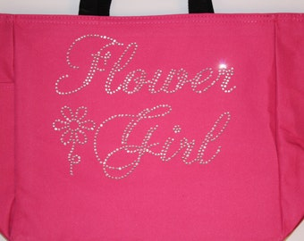 Flower Girl Tote  Bag with Rhinestones for Wedding hp7