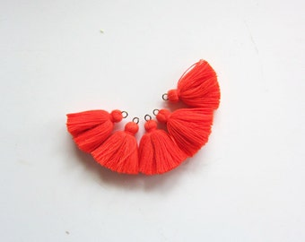 Naranja MINI TASSELS,Small Cotton Handmade Jewelry Making Tassels Supplies,Colorful Short Jewelry Tassels, MALA Bracelet Tassels No28