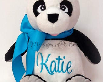 Katie - Already Personalized, Monogrammed, Plush Panda Bear Stuffed Animal, Soft Toy