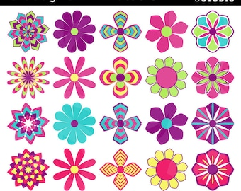 Digital Clipart Flowers-Groovy Girl-Flowers-Colorful-Seventies-Sixties-Scrapbook-Card Crafts-Printable-Retro-Instant Download Clip Art