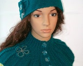 Adult Crochet Hat Green Blue with a beautiful flower