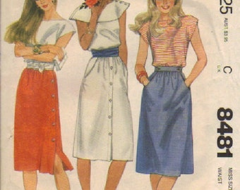 Sewing Pattern for a Misses Skirt Sewing Pattern by McCall 8481 Size 16 Vintage 1983