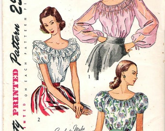 """Vintage 1948 Simplicity 2484 Misses' Gypsy Style Blouse Sewing Pattern Size 16 Bust 34"""" UNCUT"""