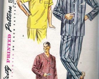 "Vintage 1952 Simplicity 4108 Men's Pajamas or Nightshirt Sewing Pattern Size Medium Chest 38"" -40"""