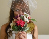 Dotty - The Chenille Dotted Tulle Cream White Birdcage Vintage Glam Veil by Leelee's Bridal Accessories on Etsy