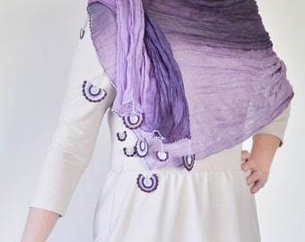 Purple Ombre Scarf, Crochet Lace, Wrinkled Scarf, Women Accessory Fashion Scarf Accessories for Women ReddApple, Fast Delivery