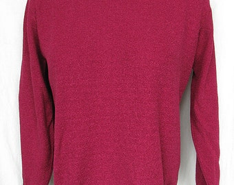 Vintage 1960s Sweater Burgundy Boucle Knit Top Empire Knitwear UNWORN with Tag Ruffle Collar