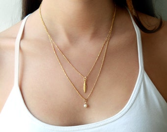 Multi layered chain necklace - Double gold pearl chain necklace - pearl jewelry - multi strand pearl chain necklace