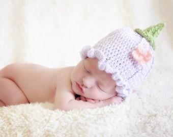 Crochet Flower Hat - Fairy Hat - Butterfly - Spring Flower Hat - Newborn Photo Prop - Baby Flower Hat - Ruffle Flower - Baby Shower Gift