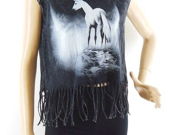 Unicorn T shirt Unicorn Shirt unicorn tee graphic tank Crop top tee hipster tank teen girl gift women tank Bleached Black Tshirt Size S