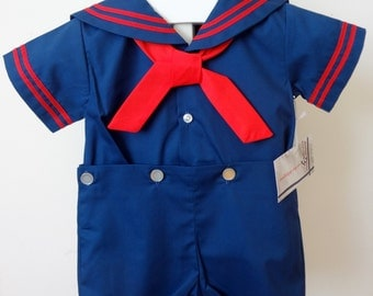 Vintage Navy blue Sailor Suit with Red trim for boys- Various Sizes- New, never worn