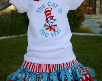 Ari's Angels girls Cat in the Hat Applique Shirt and Full Skirt,