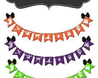 Halloween clip art digital clipart bats skulls witch pumpkin - Happy Halloween Banner - Digital Clip Art - Personal Commercial Use