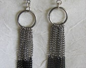 Silver and Black Multi Chain dangle earrings