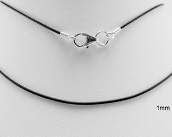 1mm black rubber cord necklace sterling silver ends & lobster clasp - you pick length