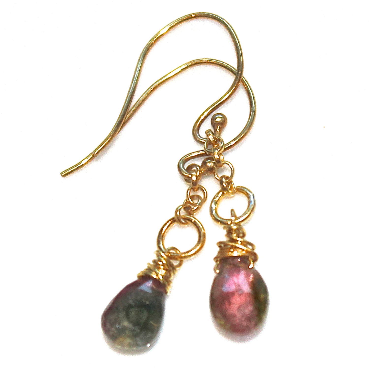 watermelon tourmaline earrings tourmaline pear by fizzcandy