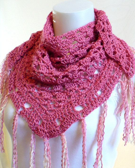 Pink Triangle Scarf, Crocheted Neck Shawl with fringe, crochet baktus with tassels