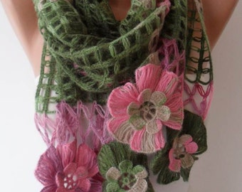 CHRISTMAS, HOLIDAY GIFT, Gifts For Her, Gifts For Women - Pink and Green Wool Crochet Scarf - Handknit - Winter Scarf