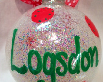 Personalized Christmas Ornament, Hand painted ornaments, Custom Made Ornaments, Personalized, Monogrammed