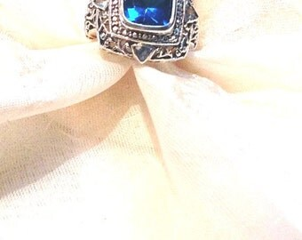 Paraiba Tourmaline Statement Ring Unisex 4.5CT With Sky Blue Topaz in Sterling Silver