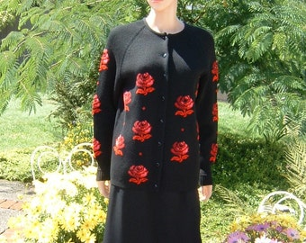 1949 H.K.K. Carmine Red Rose's and Black Cardigan Sweater 100 Virgin Wool