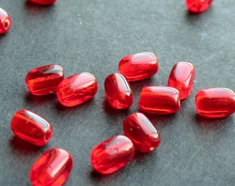 Red Glass Square Oval Beads, Czech Pressed Glass Beads, 5.5mm - 25