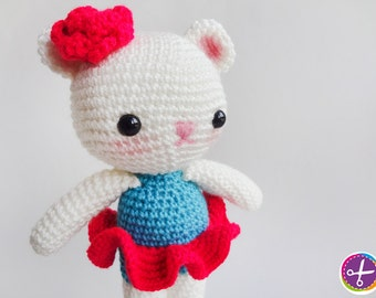 Neon Fuchsia Miss Bear Amigurumi - Ready to Ship