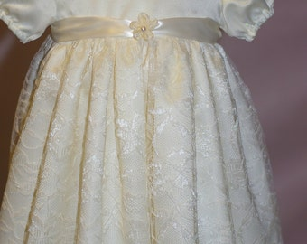 Baby Girl Christening/Baptism gown with matching headband - delicate, pale yellow with pearl neckline
