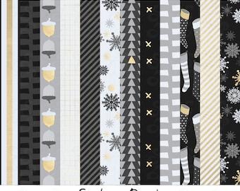 Christmas Digital Paper Pack: Gold, Black & White -- Printable