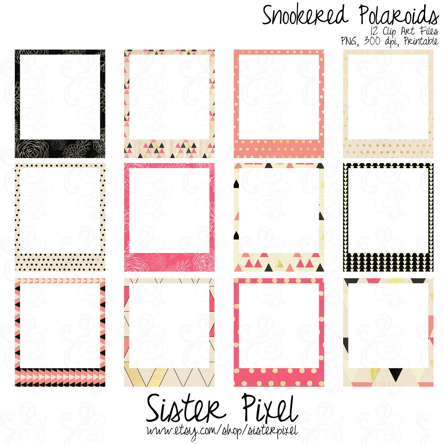 Geometric Frames Clip Art Pink and Black by SisterPixel on Etsy