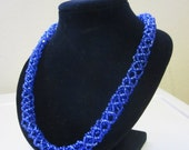 Blue Beaded Rope Necklace