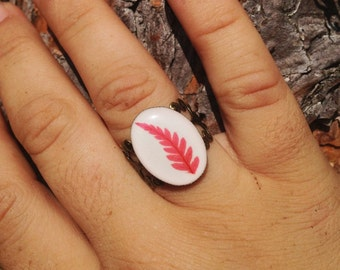 antiqued bronzed filigree adjustable ring handmade leaf jewelry- nature inspired ring with pressed natural dark pink - red leaf