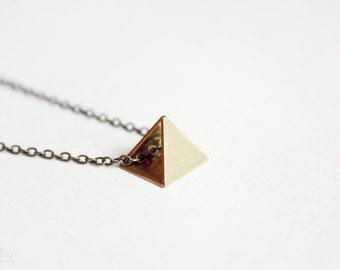 raw pyramid - dainty geometric necklace, minimalist modern jewelry