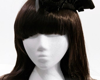 Black with Pleated Satin Ribbon Mini Tricorn Pirate Hat - Made to Order