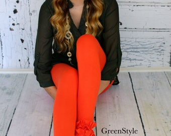 Fall Orange  Ruffled Leggings from GreenStyle