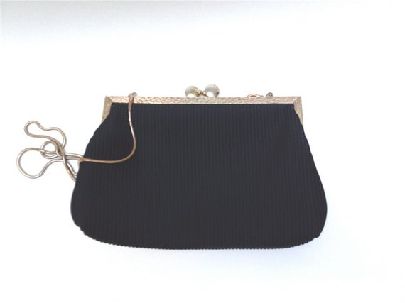 Vintage Henry Birks pleated clutch handbag purse with gold chain