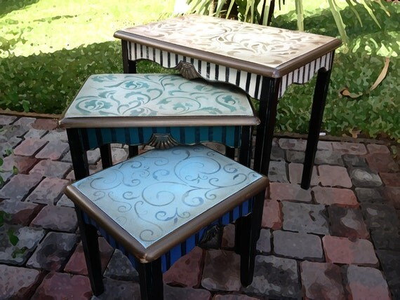Nesting tables, hand painted,  unique italian scrolls, distressed with stripes in green, blue and browns