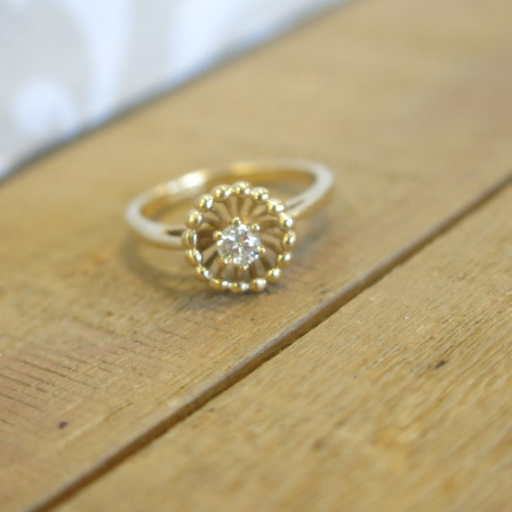 Reserved for Caleb Vintage Antique Heirloom 1950s 14KT Yellow Gold Diamond Solitaire Beaded Halo Engagement Ring