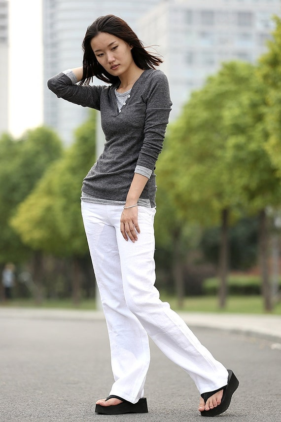 Elegance Casual linen Pants in white - C266