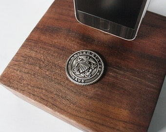 United States Navy Walnut Block Docking Station for iPhone 6, iPhone 5, iPhone 5S - Gift for Veterans, Military, Soldiers