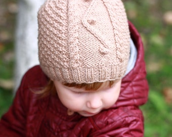 Hand Knit Baby Beanie Hat, Winter Baby Hat, Toddlers Beanie, Woolen Machine washable Hat, Winter Toddler Knit Hat, Popom Baby Hat, Knit Hat