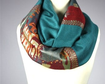 Teal  infinity scarf, pashmina infinity scarf, abstract  scarf,  chunky scarf, lurex scarf,  gifts